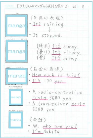 漫画ドラえもんを使った自主学習ノート