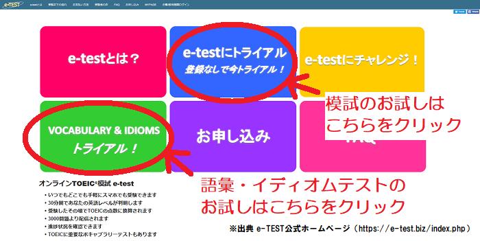 TOEIC模試が受けられるe-TESTのホーム画面