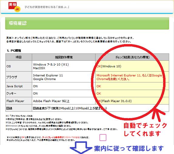 英検Jr.(英検ジュニア/児童英検)オンライン版のパソコン動作確認ページ
