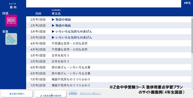 Z会中学受験コース塾併用学習要点プランの専用サイト画面トップ
