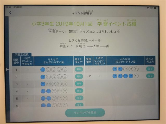 Z会中学受験コースの学習イベント「成績表・ランキング発表」で過去の成績を見る方法3